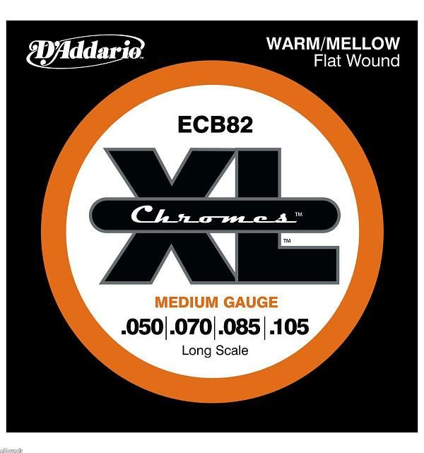 D'Addario ECB82 Medium Set Chromes Flat Wound Bassnaren .050/.105