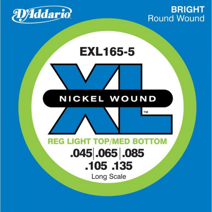 D'Addario EPS165-5 ProSteel Regular Light Top-Medium Bottom Bassnaren .045/.135
