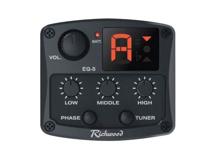 Richwood EQ-5 actieve 3-band gitaar pickup/preamp/tuner