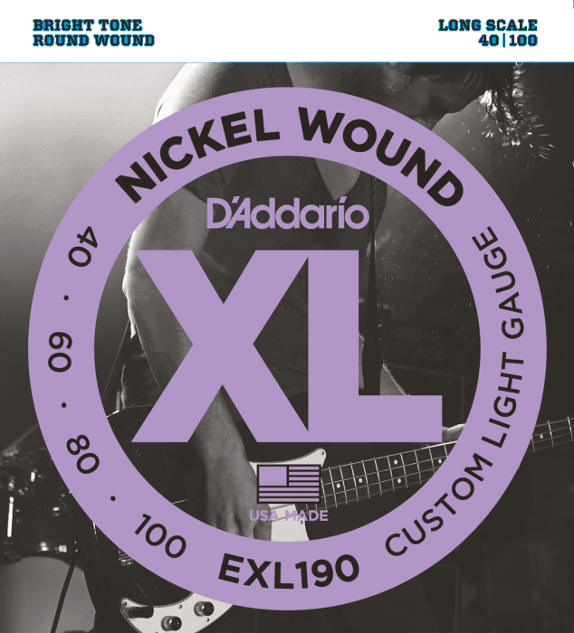 D'Addario EXL190 Custom Light Roundwound Bassnaren .040/.100