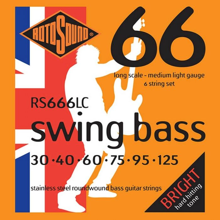 Rotosound RS-666-LC Bassnaren 6-snarig stainless steel