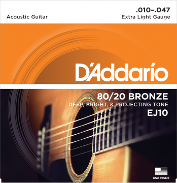 D'Addario EJ10 80/20 Bronze Extra Light